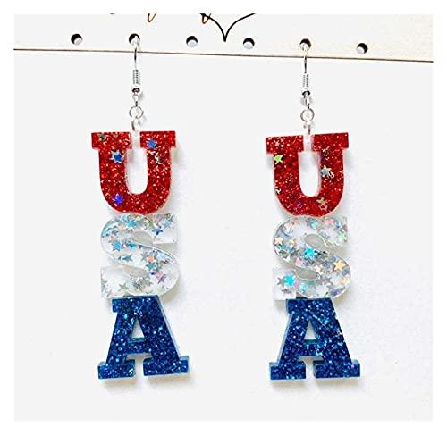 Houren Pendientes Patrióticos Americanos Lentejuelas Multicolor Pendientes Acrílicos Letra EE.UU Pendientes para Mujeres exquisitas Cristal claras Orejas Decorativas (Metal Color : As Shows)