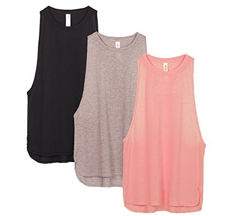 icyzone Yoga Tops Activewear Workout Clothes Sports Racerback Tank Tops for Women(S,Black/Beige/Pale Blush)