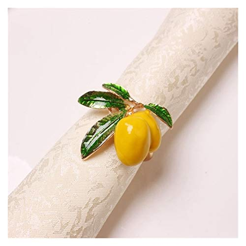 MENGzhuHSA Fashion 6 PCS Lemon Napkin Ring Napkin Ring Table Decoration Decoration Accessories (Color : Gold)