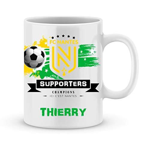 Mug de foot NANTES à personnaliser avec prénom - Cadeau personnalisé foot Ligue1 FC NANTES