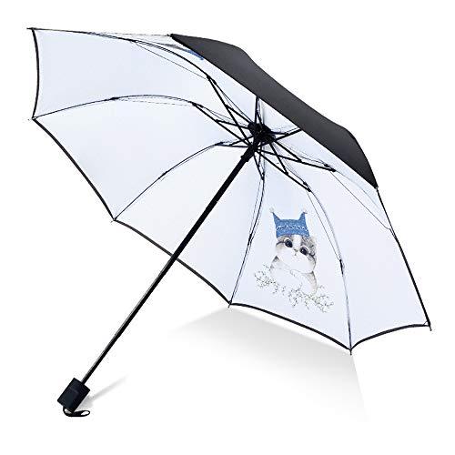Kreative Flamingo Schwarz Kunststoff Regenschirm Anti-Uv Regenschirm Weibliche Sonnenschutz Drei Falten Regenschirm Benutzerdefinierte Werbung Regenschirm Großes Gesicht Katze 58 Cm * 8 Karat