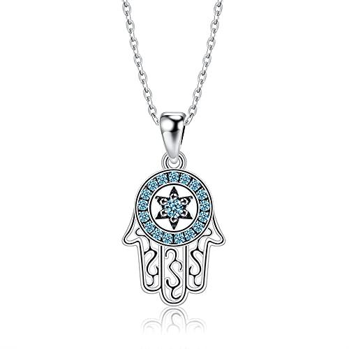 VAWAA Genuino Plata de Ley 925 de Moda de la Mano de la Suerte de Fátima Collares con Colgante Azul Brillante CZ Collar para Mujer joyería de Plata