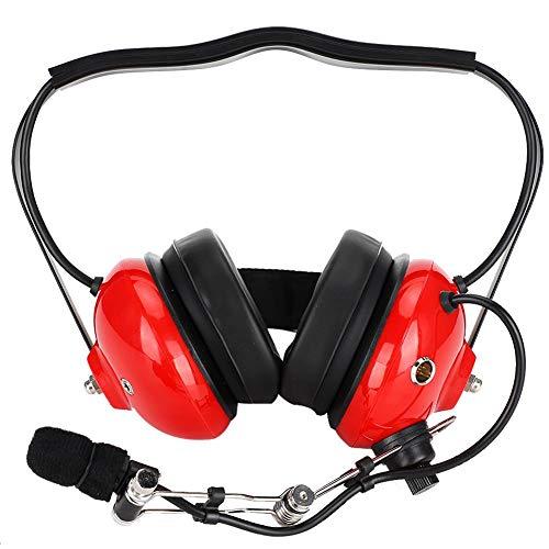 ASHATA Aviation headset, aan de achterkant hangende hoofdtelefoon met ruisonderdrukking multifunctionele 3,5 mm aviation headset, gehoorbescherming met ruisonderdrukking, high-performance audioluidsprekers, rood