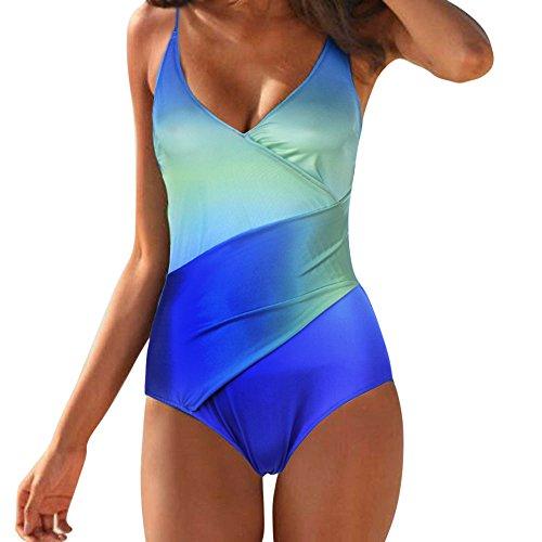 Aiserkly Damen Bademode Einteiliger Badeanzug Push Up Bikini Sportlicher Badeanzug Rückenfrei Spaghetti-Träger Monokini Sommer Strandmode Grün XL