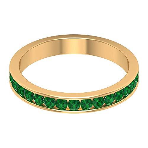 Anillo de declaración de oro esmeralda de 0,60 ct certificado en laboratorio, anillo único de promesa de novia de piedra preciosa, anillo antiguo de boda, 14K Oro amarillo, Size:EU 70