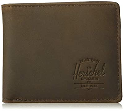 Herschel Hank Leather RFID Bi-Fold Wallet, nubuck brown,