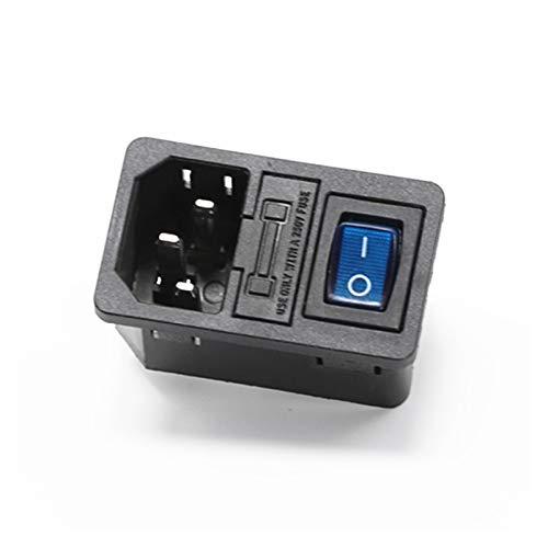 JSJJATQ Interruptores 1pcs 10a 250vac 3 Pin IEC320 C14 Conector de Entrada Conector con Enchufe con Interruptor de rockero de la lámpara (Color : Blue)