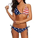 Zando Womens Two Piece Swimsuit with Tie Side Bottom Triangle Swimming Suit with Padded Top Athletic Bathing Suits for Women American Flag 4-6