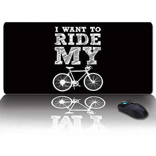 Extra großes, erweitertes Gaming-Mauspad, Silhouette des Fahrrads, schwarzes Hintergrund-Mousepad, lange rutschfeste Gummibasis, XXL-große Tastatur-Schreibtischmatte für Desktop / Laptop / Büro / Zuha
