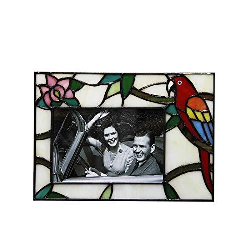 Makenier Bilderrahmen im Tiffany-Stil, Buntglas, 10 x 15 cm, Rot Horizontal Design: 8.9