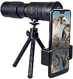 Ynnxia Telescopio monocular 4K 10-300X40mm Super Tele Zoom portátil con Clip para teléfono + trípode 7,87 Pulgadas de Aumento 7-17 Veces