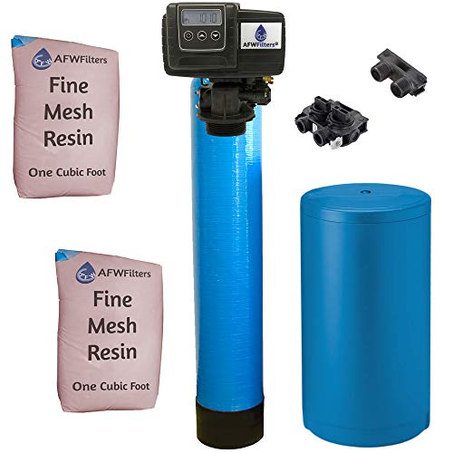 AFWFilters IRONPRO2 Pro 2 Combination Water Softener Iron Filter Fleck 5600SXT Digital metered Valve for Whole House (64,000 Grains, Blue), 64, 000