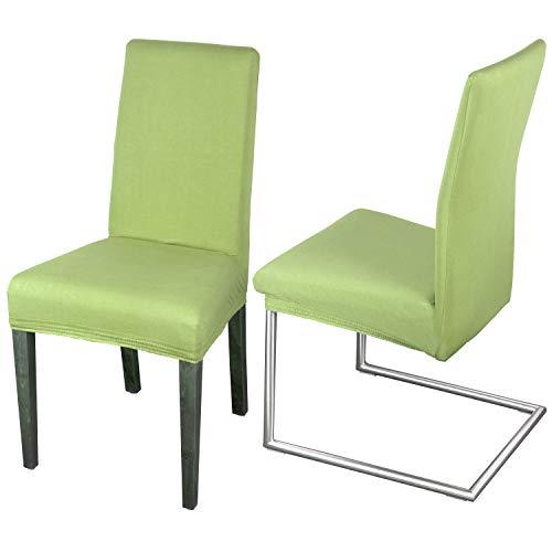 Staboos Stuhlhussen 2er Set aus 96% Baumwolle - Bi-elastische Stretch Stuhlüberzüge - Universal Stuhlbezug - Stuhlabdeckung waschbar & bügelfrei, Hellgruen