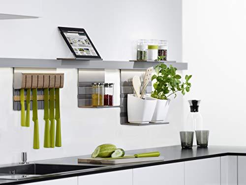 LINERO MosaiQ Starterset MAXI Küchen-Reling-Set Wand-Montage | Relingsystem titan-grau | MADE IN GERMANY | 1 Küchenleisten-Set mit 2 Profilleisten 600 mm inkl. Papierrollenhalter, Universalablage uvm.