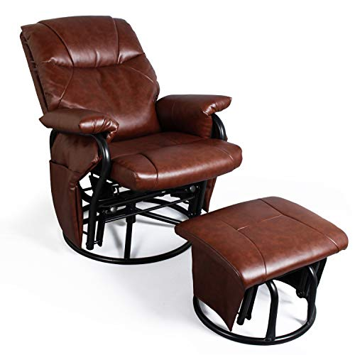 Recliner Chair with Ottoman Living Room Chairs Faux Leather Glider Chair 360 Degree Rotation Leisure and Relaxation Furniture (Red-Brown)
