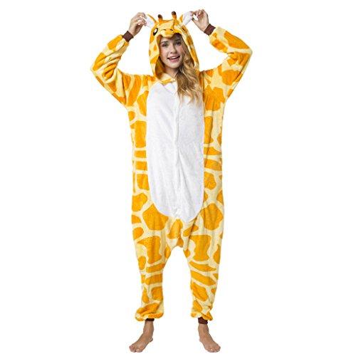 Katara 1744 -Giraffe Kostüm-Anzug Onesie/Jumpsuit Einteiler Body für Erwachsene Damen Herren als Pyjama oder Schlafanzug Unisex - viele Verschiedene Tiere