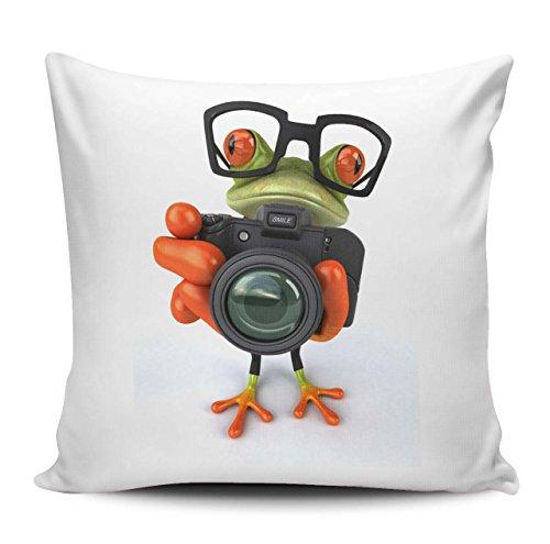 Kissenhülle/Kissenbezug 40x40cm - Motiv: 3D Frosch mit Fotoapparat und Hipster Brille| 041