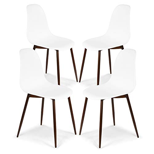 Poly and Bark Landon Contemporary Kitchen Dining Sculpted MidCentury Side Chair White Set of 4