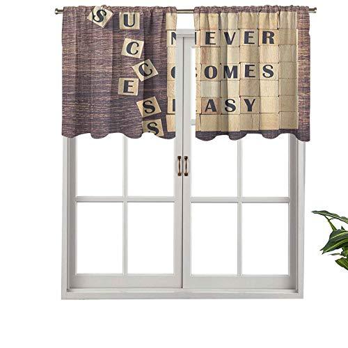 """Hiiiman Cortinas cortas opacas con bolsillo para barra, texto en inglés """"Success Never Comes Ease"""", juego de 2, cenefas pequeñas de media ventana de 137 x 61 cm para cocina"""