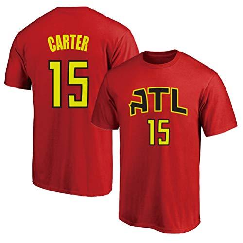LSJ-ZZ Deportes Camiseta de los Hombres de la NBA Atlanta Hawks # 15 Vince Carter Retro Casual de Manga Corta, Floja y Transpirable Equipo de Baloncesto Jersey Cuello,C,XL:175~180cm