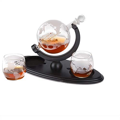 Decantador de Globo de Whisky con 2 Vasos de Whisky de Globo Grabados Decantador Tapón de Vidrio de Barco Antiguo Embudo Dispensador de Licor Espíritus Scotch Bourbon Vodka Ron Brandy