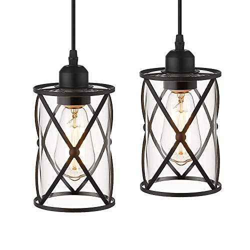 Osimir Industrial Pendant Light, 2 Pack Mini Glass Pendant Light for Kitchen, Cage Pendant Lighting in Black Finish with Clear Glass, Adjustable Length, CH9176-1-2PK
