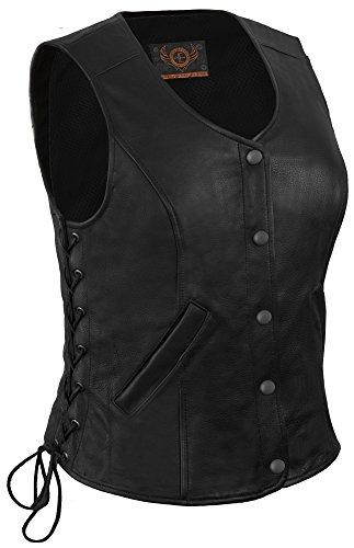 True Element Womens Longer Length Motorcycle Leather Vest With Side Laces (Black, Size L)