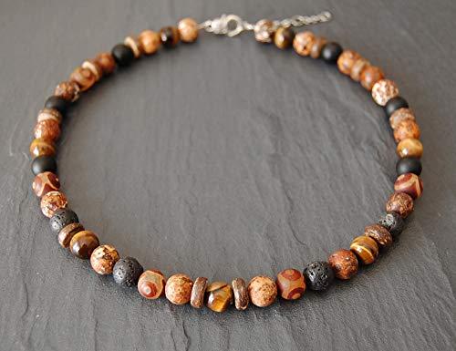 Collar mixto de ojo de tigre, ágata tíbet, madera de ágata, piedras de lava, onyx 10mm hombre mujer, marrón y negro