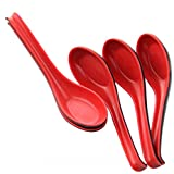 Xrten 5 Pcs Chinese Red and Black Melamine Noodle Soup Spoons with long handle (17 x 4 x 1.2cm)