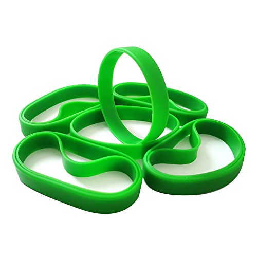 100 PCS Green Blank Silicone Bracelets, Sports Rubber Elastic Wristbands Wholesale Bulk Bracelet Large