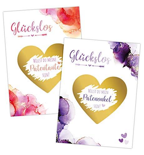 JoliCoon Rubbelkarte Patenonkel Patentante fragen - Rubbellos Willst du meine Patentante werden - Geschenk-Idee Überraschung Geburt - Neutrale Karten selbst beschriften