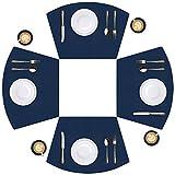 APLKER Manteles Individuales Lavables Juego de 4 Salvamantele Individuales de PU Redondos Antideslizantes Resistente al Calor para la Mesa de Comedor de Cocina, Azul Marino