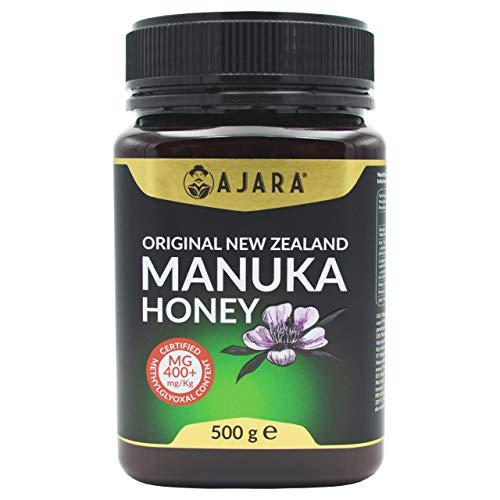 Miel de Manuka MGO 400+ Activo, Crudo, Puro y Natural al 100{af188981b6dcc5dac7378f069fa153680106b3f490bc5912b7c9921472fa1454} - Producto Certificado Metilglioxal en Nueva Zelanda - Terapéutico Antiviral y sana la piel - AJARA 500g