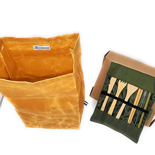 USA owned ECOEGO Eco-Friendly Lunch Set 1 heavy duty and waterproof waxed canvas lunch bag 1 bamboo cutlery set 1 knife1 fork1 spoon2 chopsticks1 straw1 cleaning brush1 travel pouch