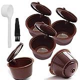 NaiCasy Filtro de café plástica cápsulas de café de Filtro Copas Recargable Filtro Reutilizable Cuchara Cepillo para Dolce Gusto Máquinas Brown
