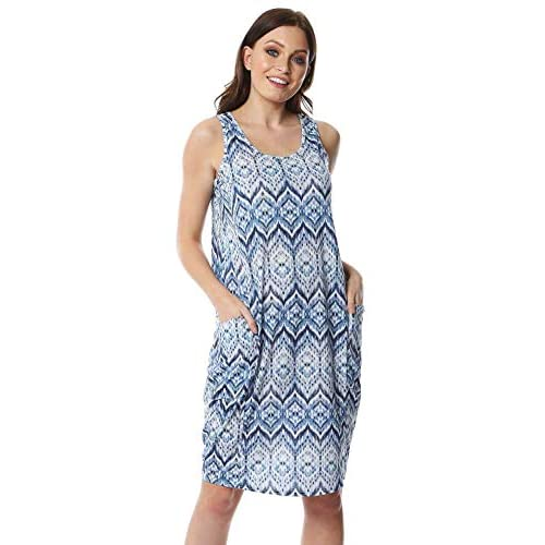 Roman Originals Women Geo Print Slouch Dress – Ladies Summer Holiday Beach Pool Casual Everyday Daywear Sun Relaxed Comfortable Sleeveless Pocket Baggy Dress