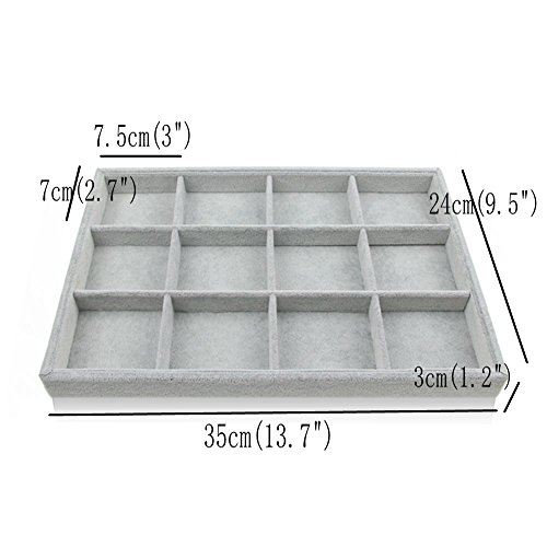 Bocar Grey Velvet 12 Compartment Jewelry Display Showcase Organizer Holder for Necklace Bracelet Ring Earring (GP=12G)