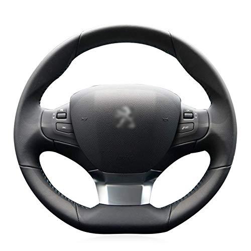 HCDSWSN Cubierta del Volante del Coche de Cuero Artificial Negro para Peugeot 308 2016 2017