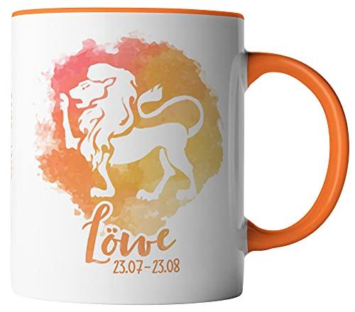 vanVerden Taza – Horóscopo signo del zodiaco Leo 23.07 – 23.08 – Impresión por ambos lados – Idea de regalo tazas de café color blanco y naranja