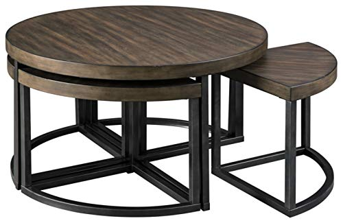 Signature Design by Ashley - Johurst Round Coffee Table, Wooden Brown/Black