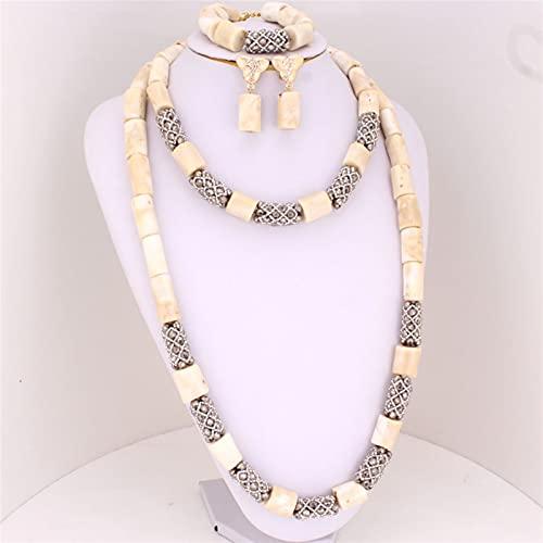 yqs Conjunto de Joyas Cuentas de Coral Blancas de 33 Pulgadas para la joyería de la Boda nigeriana Joyas de la joyería de Las Mujeres para la Boda con el diseño con Cuentas de Cristal de Plata