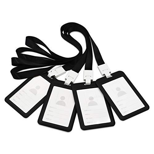 Porta badge, Porta carte d'identità in plastica PP impermeabile per carta d'identità studente studente ufficio dipendente (Verticale 4 nero)