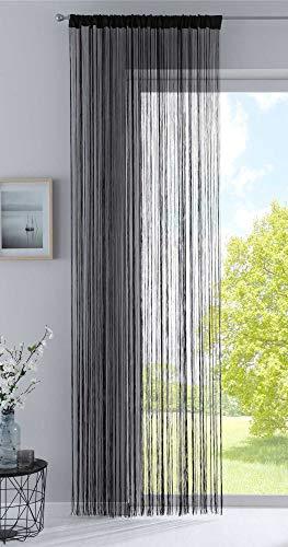 Fadengardine, HxB 270x90 cm, Schwarz mit Tunneldurchzug und eingenähtem Kräuselband, geeignet für Gardinenstangen und Gardinenschienen Fadenvorhang Fadenstore Raumteiler, 20303CN