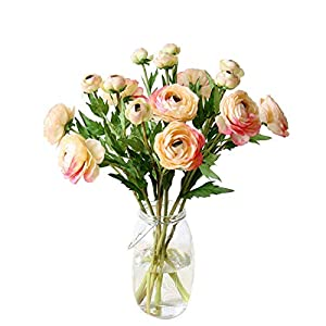 Maylife 5 Sets Silk Ranunculus Asiaticus Artificial Flowers Camellia Home Garden Wedding Party Living Room Decoration Bottle Flowers (Pink)