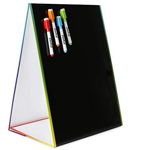"Tabletop Magnetic Easel amp Blackboard with Chalkboard Design 2 Sides 16 X 125"" Includes: 4 Chalk Markers Drawing Art Black Board Educational Kids Toy"