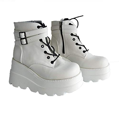 Women's High Platform Boots Fashion Buckle Strap Round Toe Wedge High Heels Spring Autumn Lace Up Punk Goth Ankle Boots,White,2.5 UK