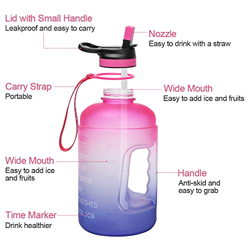 Opard 2 Litre Motivational Water Bottle with Time Markings & Straw Half Gallon Water Bottle with 2 Lids (Chug and Straw) Leakproof BPA Free Reusable 2L Large Water Jug for Sports and Gym
