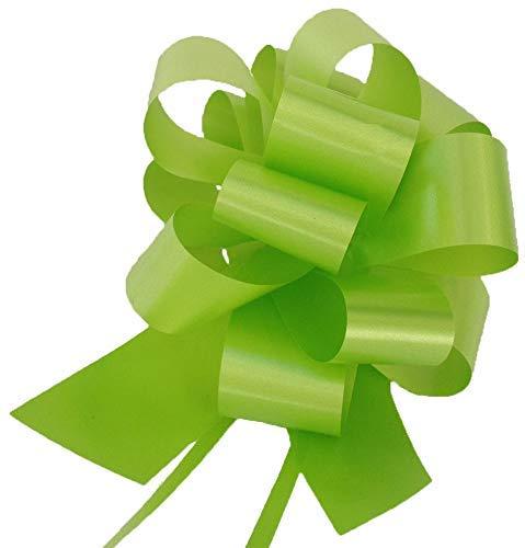 Bolis Lot de 30 cocardes à tirer, 3 cm, pour mariage, voiture, maison, noces, baptême, diplôme, communion, diamètre de 10 cm, (vert pomme).