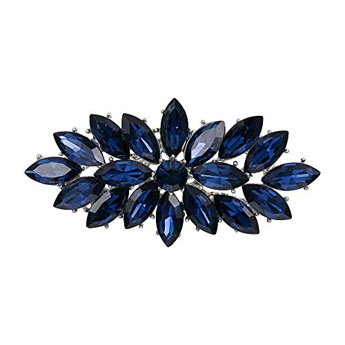 EVER FAITH Wedding Corsage Jewelry Navy Blue Marquise Austrian Crystal Booming Flower Brooch for Women Fashion
