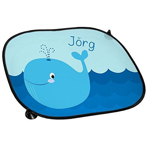 Auto-Sonnenschutz mit Namen Jörg und schönem Motiv mit Wal für Jungen | Auto-Blendschutz | Sonnenblende | Sichtschutz
